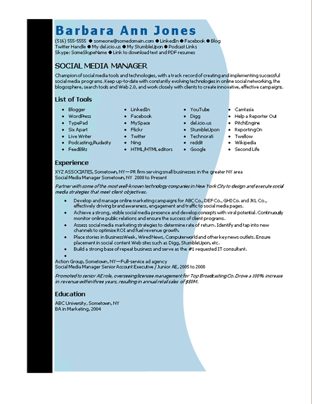 Resume Templates For Word 2007   E-Resume