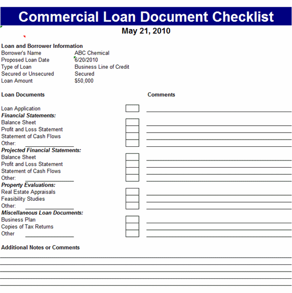 Commercial Loan Document Checklist Template MS Excel