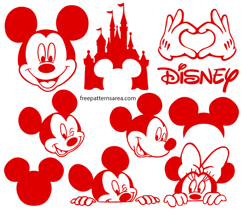 Download Mickey Mouse Silhouette Vector Images | FreePatternsArea