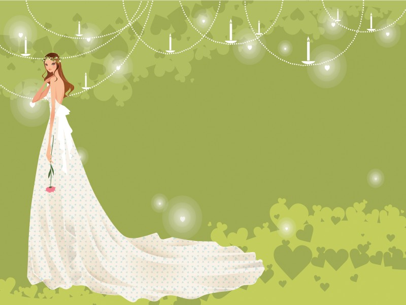 Bride With Groom In Green Powerpoint Templates Beauty