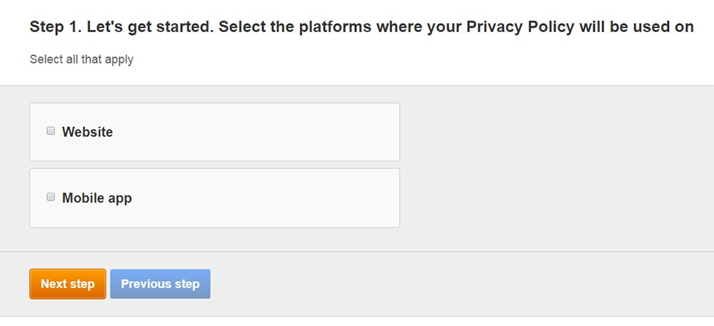 FreePrivacyPolicy: Privacy Policy Generator - Select where your Privacy Policy will be used - Step 1