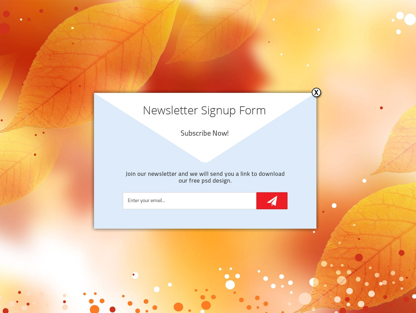Newsletter signup form free psd design