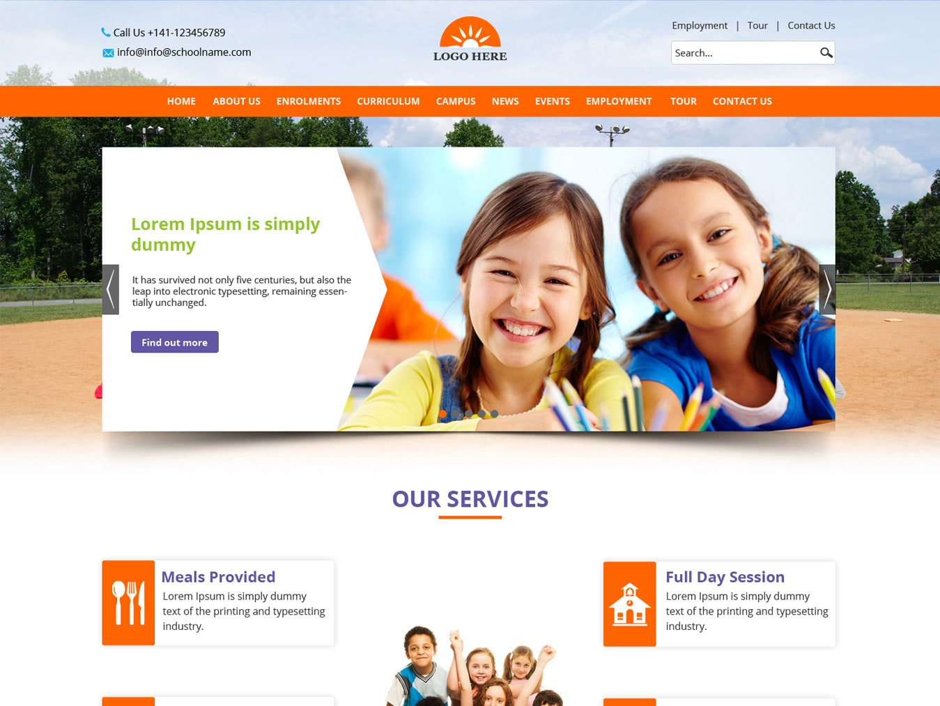 School website template psd design