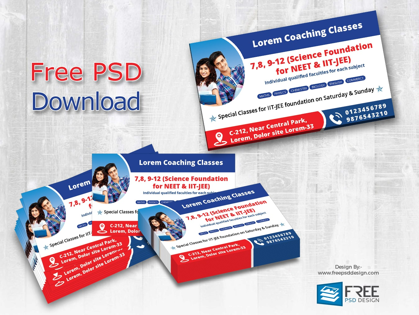 Visiting card design for coaching classes