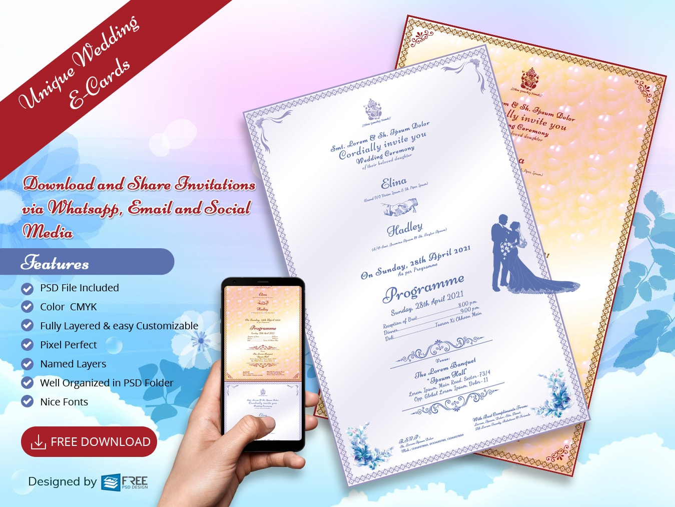 Unique Wedding E-Card free psd