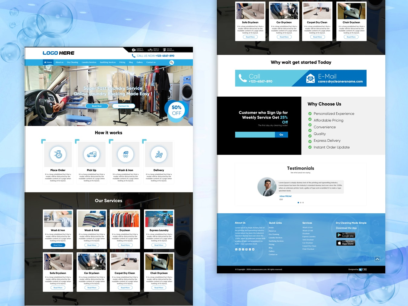 Dry cleaners and services website template