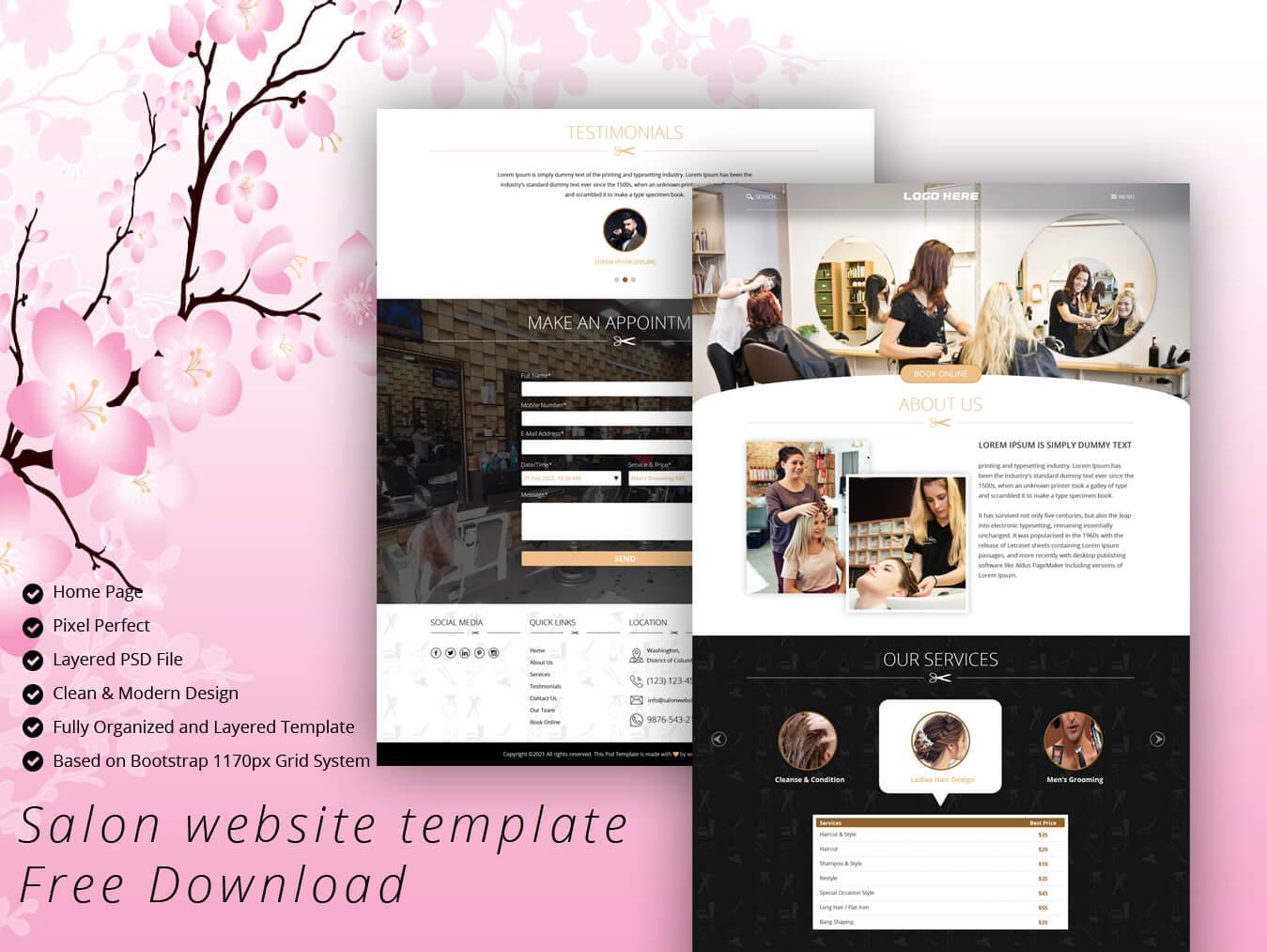 Salon website template Free Download