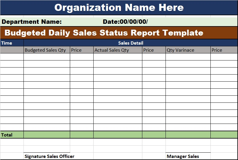 Sales forecast tracker small business. Excel Budgeted Daily Sales Status Report Template Free Report Templates