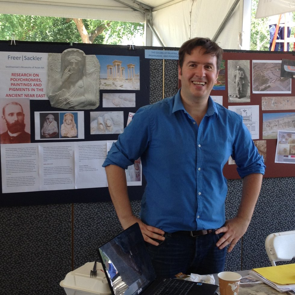 Alex Nagel at the Smithsonian Congress of Scholars tent, Folklife Festival, July 2, 2012