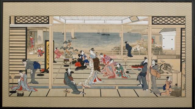 detail from Utamaro's Moonlight Revelry at Dozo Sagami