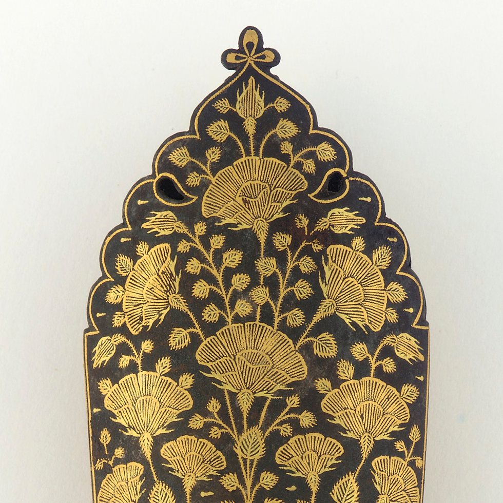 Chape of a scabbard - Iron inlaid with gold
