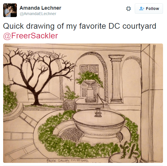 "Instagram post of a sketch of the Freer Courtyard. ""Quick drawing of my favorite DC courtyard"""