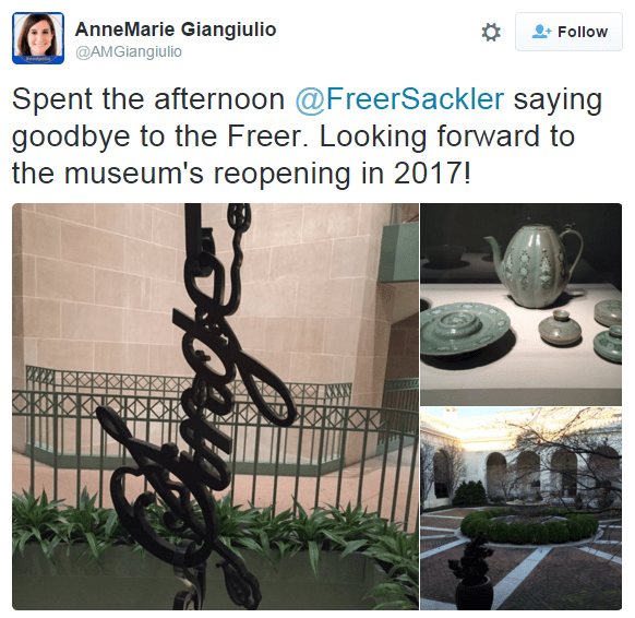 "Instagram collage of images from the Freer and Sackler. ""Spent the afternoon @FreerSackler saying goodbye to the Freer. Looking forward to the museum's reopening in 2017!"""
