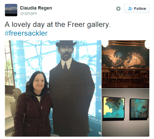 "Instagram images of a woman posing next to a black and white cardboard cut out of Charles Lang Freer, composited with photos of the Peacock Room and Peacock Room Remix. ""A lovely day at the Freer gallery."""