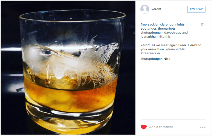 "Instagram post: tumbler of whiskey, glass etched with Whistler's fighting peacocks. ""Til we meet again Freer. here's to your renovation."""