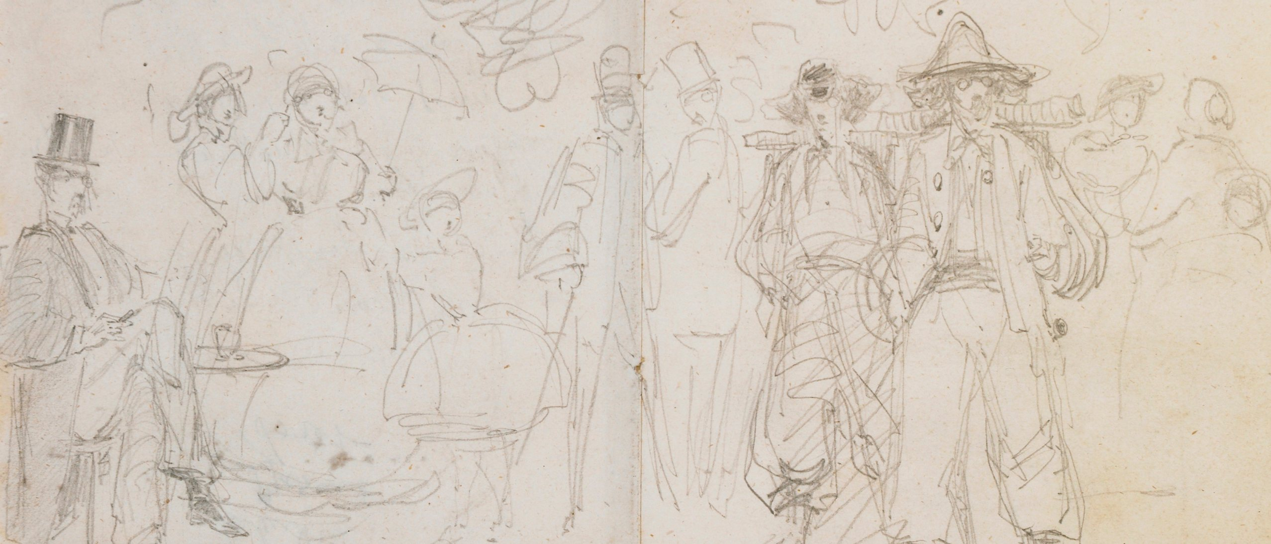 """Entré sur la Grande Promenade à Baden"" drawing by James McNeill Whistler, 1858"