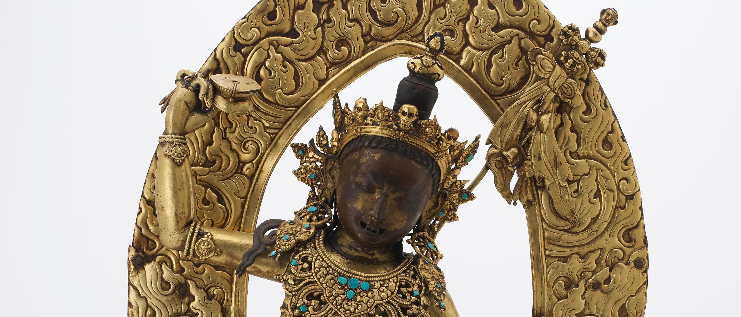 Statue figurine - Gilt copper alloy with turquoise, copper and pigments