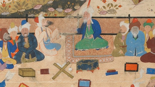 detail, Folio from a Khamsa (Quintet) by Nizami; figures sit gathered in discussion