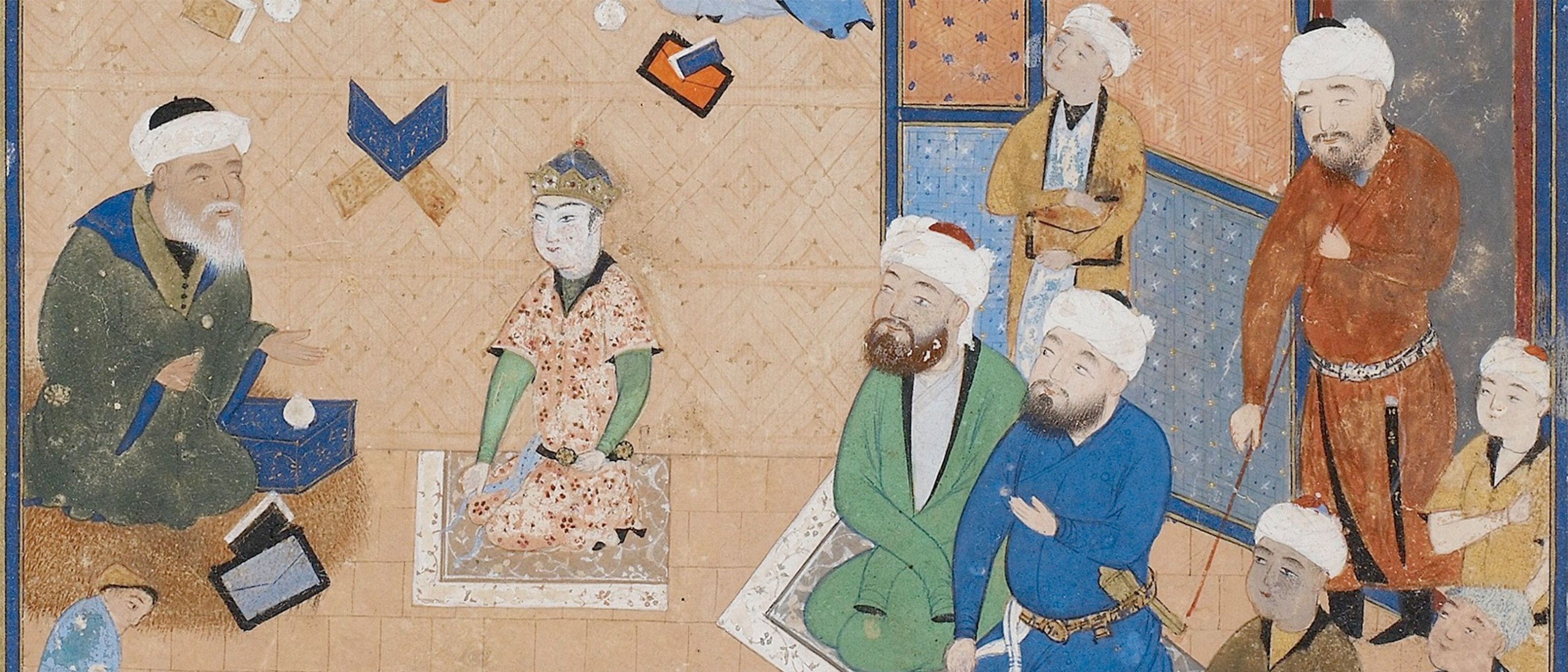 Detail of a painting, depicting several men kneeling on cushions.