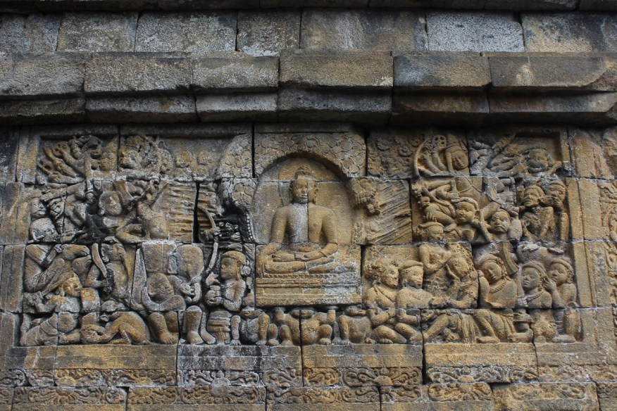 Borobudur, relief showing the enlightenment of the Buddha