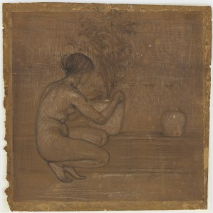 drawing of a crouching female next to a potted plant