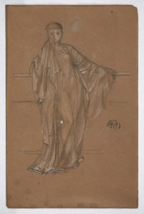 drawing of a draped figure holding a railing