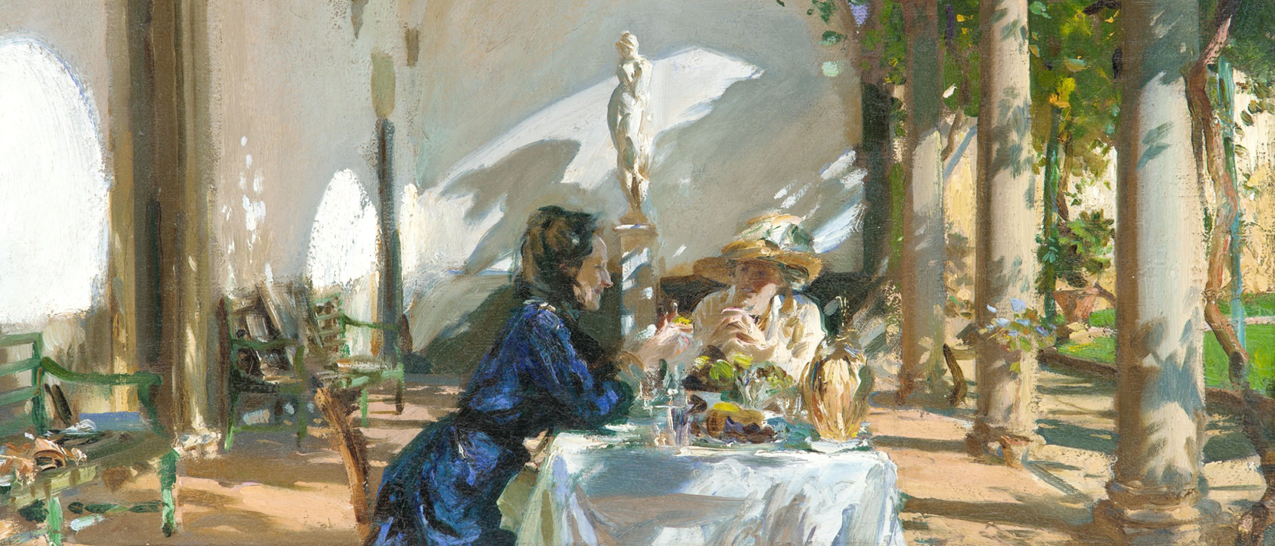 """A detail from the painting """"Breakfast in the Loggia"""", two women sitting in the sunshine in the Freer courtyard"""