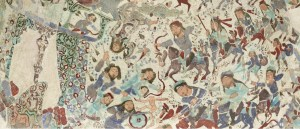 Detail of ceramic bowl with battle imagery painted on in colored enamel