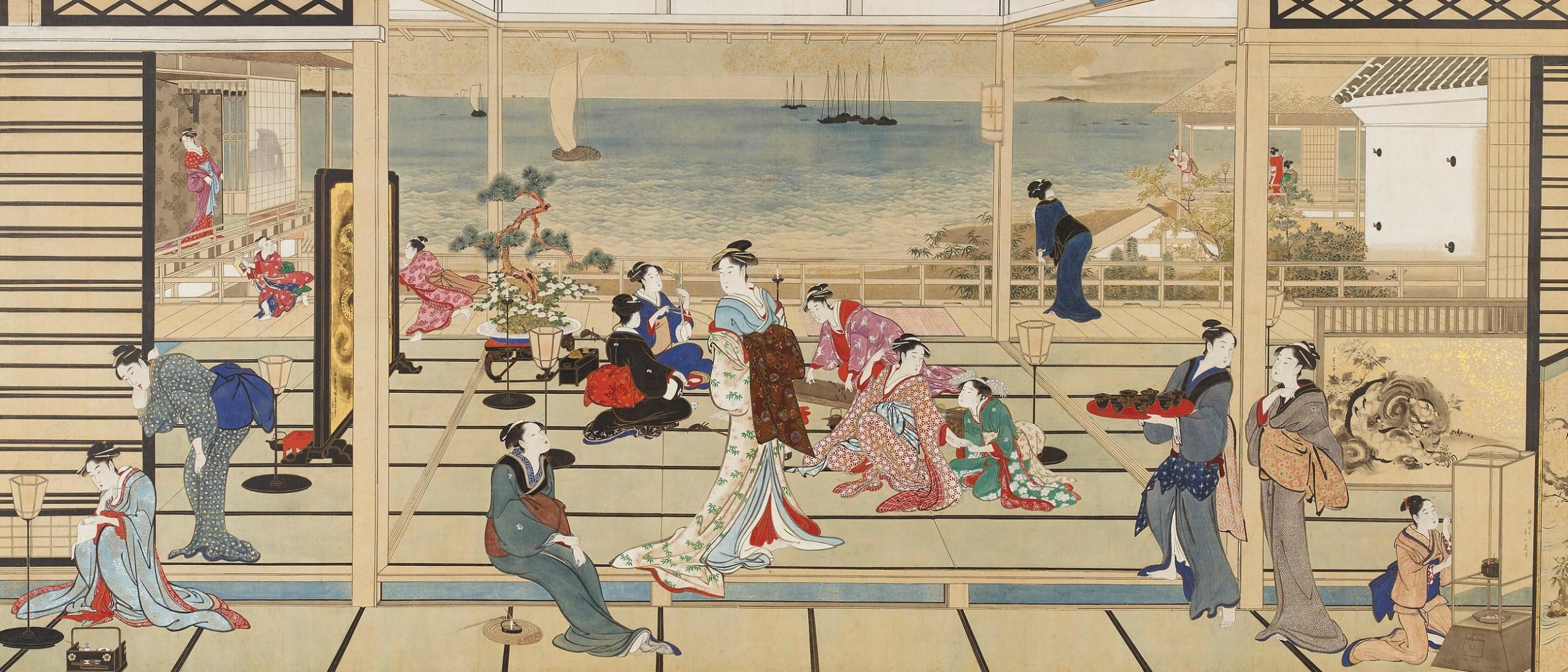 Detail image, Kitagawa Utamaro, Moonlight Revelry at Dozo Sagami; Ink and color on paper, Japan; Gift of Charles Lang Freer, F1903.54