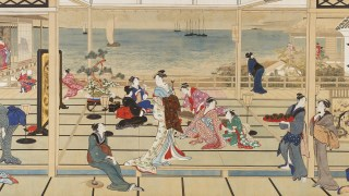 Detail image, Kitagawa Utamaro, Moonlight Revelry at Dozo Sagami; Ink and color on paper, Japan; Gift of Charles Lang Freer, F1903.54