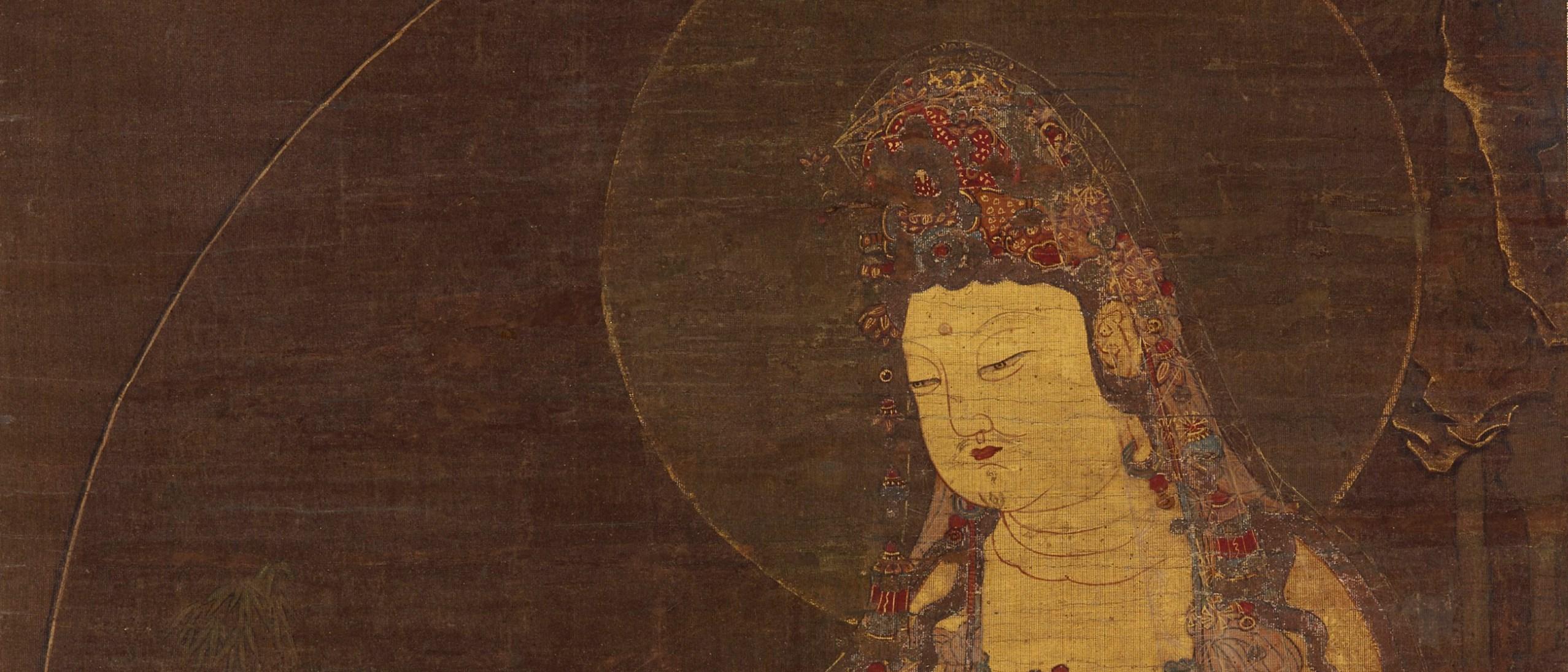 Detail image, Water-Moon Avalokitesvara (Suwol Gwaneum bosal); Korea, mid-14th century; hanging scroll; ink, color, and gold on silk; Gift of Charles Lang Freer, F1904.13