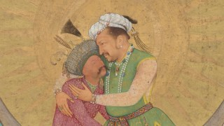 Detail image, Jahangir Embracing Shah Abbas; From the St. Petersburg Album Signed by Abu'l Hasan (act. 1600–30); India, Mughal dynasty, ca. 1618; Margins by Muhammad Sadiq, Iran, dated AH 1170/1756–57 CE; Opaque watercolor, ink, silver, and gold on paper; Purchase; Freer Gallery of Art F1945.9