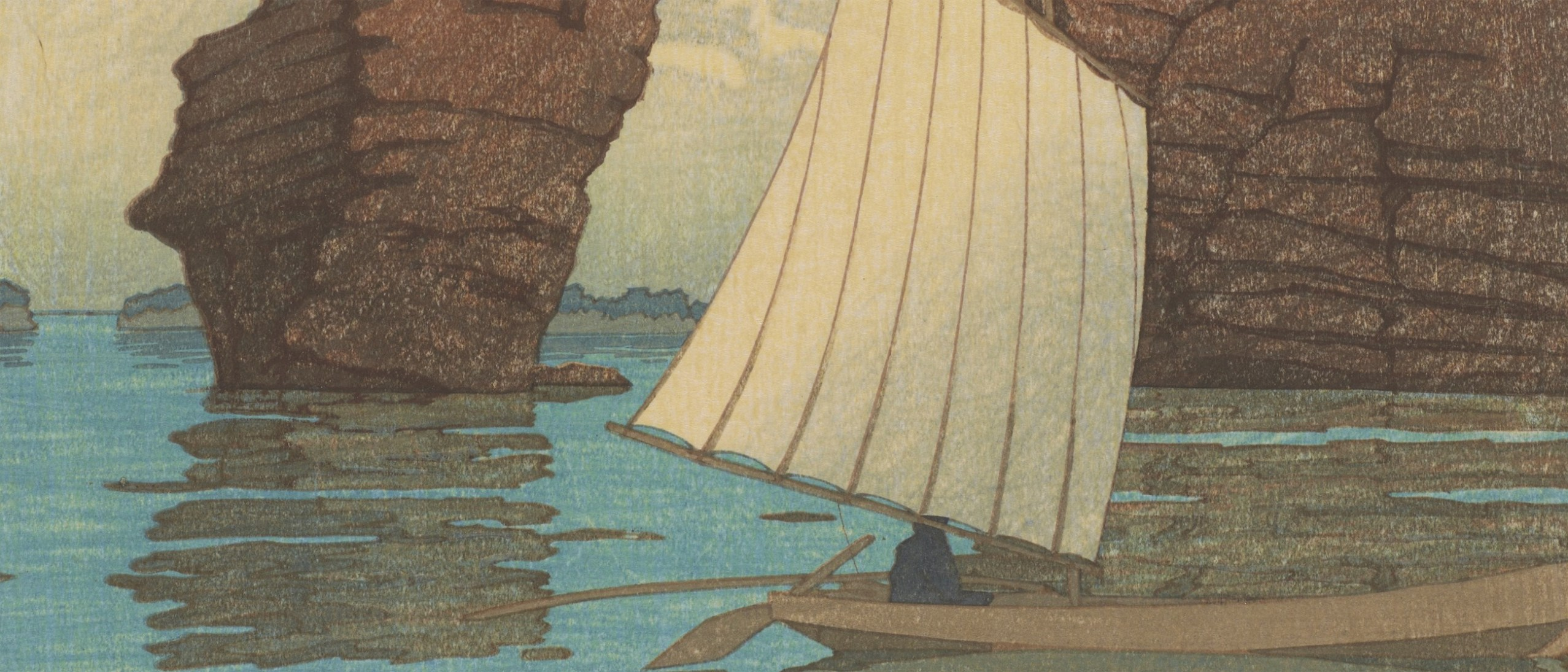 Detail image, Zaimoku Island, Matsushima; Kawase Hasui (1883–1957); From the series Collection of Scenic Views of Japan, Eastern Japan edition; Japan, May 1933; Woodblock print; ink and color on paper; Arthur M. Sackler Gallery, Robert O. Muller Collection S2003.8.796