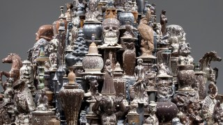 Detail, Walter McConnell, A Theory of Everything: Dark Stupa, 2014. Porcelain, 264.2 × 284.5 cm. Photo courtesy Cross MacKenzie Gallery, Washington, DC. image