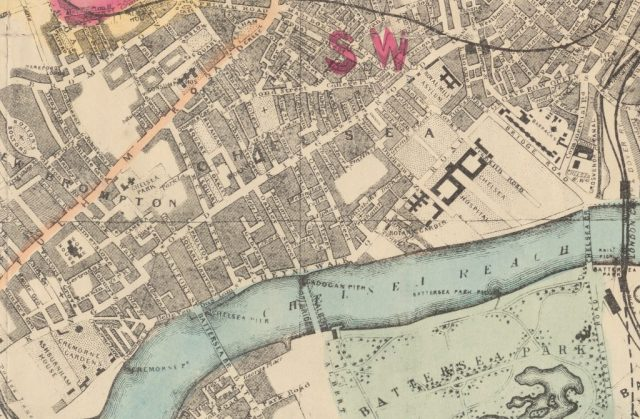 A hand colored archival map of london