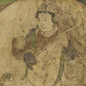 Detail of a weathered painting of woman playing lute.