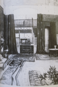A photo of an interior with rugs and long curtains