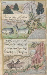 two deer-or-goatlike animals, and two deer, in garden settings with streams, flowers, trees, and stones
