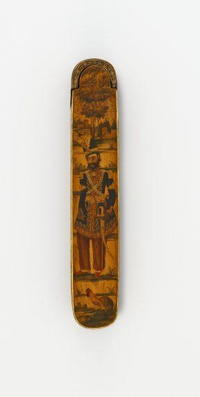 Pen case with Nasir al-Din Shah in a landscape