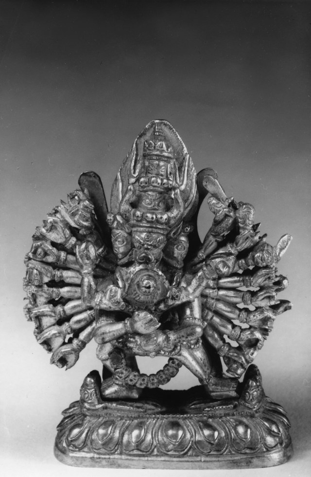 Photo, Gilt bronze miniature Vajrabhairava with Shakti. Tibet, 18th century., H: 6.6 cm. (2 1/2 in.) Singer catalogue number: [1771].