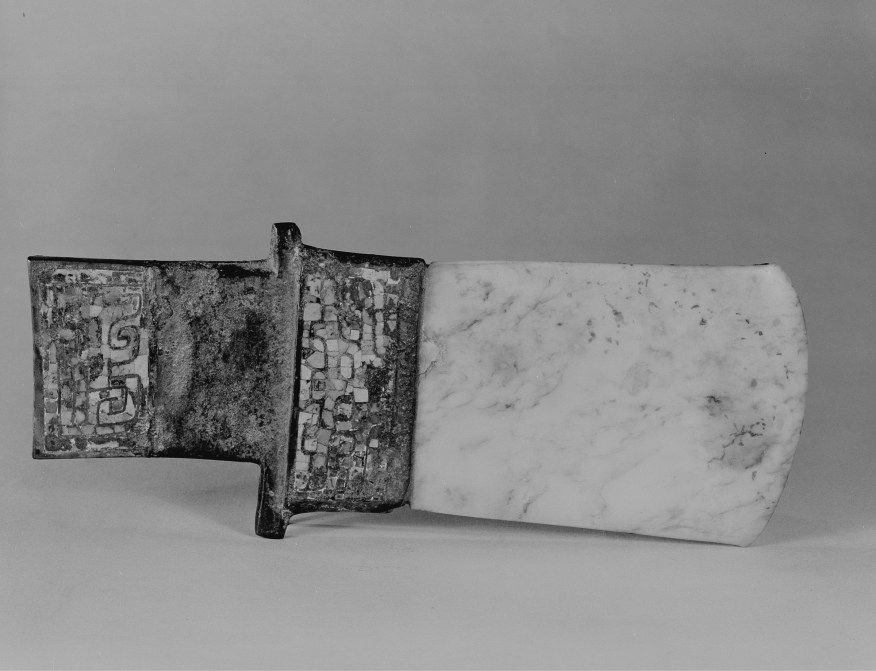 Photo, Bronze axe with turquoise inlay and jade blade. Shang dynasty, 14th–12th century BCE., L: 18.9 cm. (7 7/16 in.). Singer catalogue number: [92].