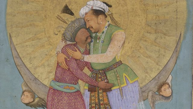 painting of two men wearing elaborate clothing and turbans hugging in front of golden disc supported by winged cherubs