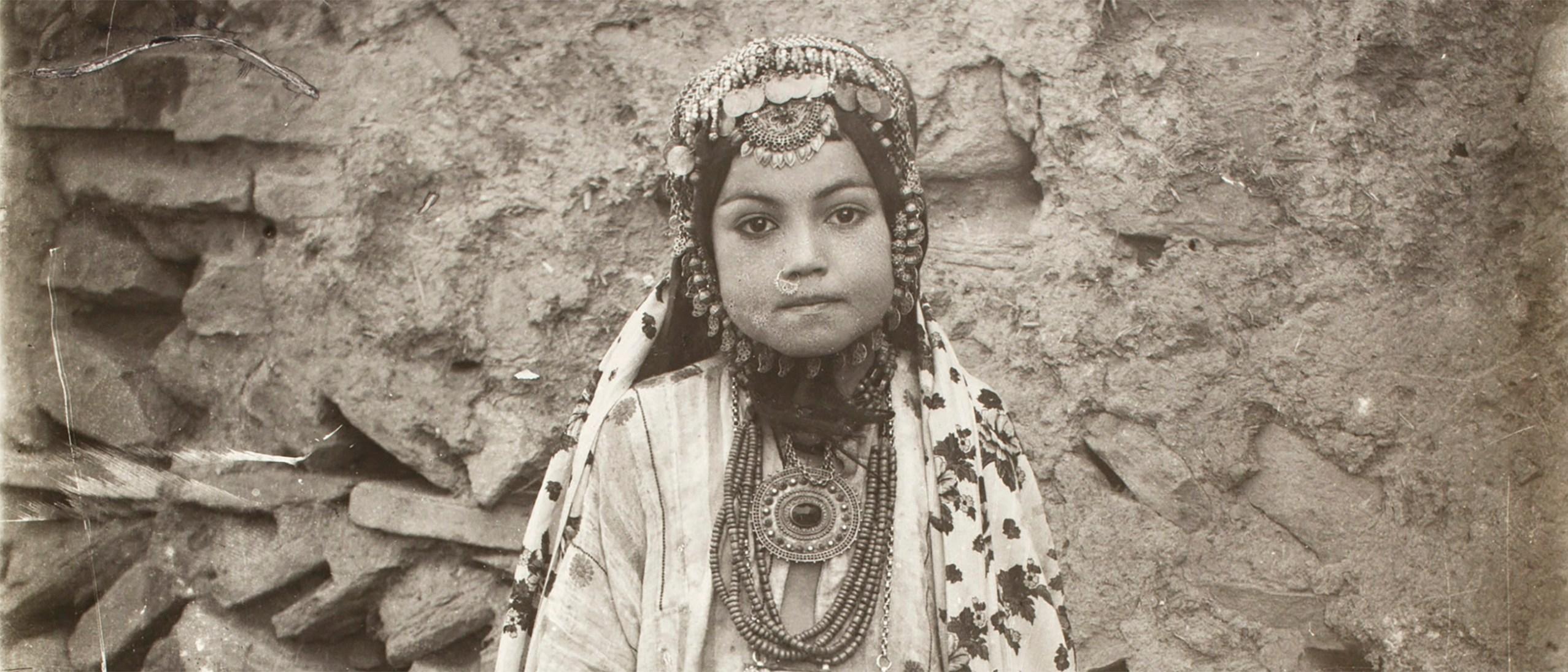 Photo, Portrait of Jewish Girl in Elaborate Costume; Sevruguin, Antoin, 1870s-1928, b&w ; 17.5 cm. x 23.3 cm.; FSA_A.4_2.12.Up.55