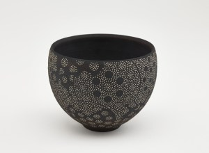 Photo of, Bowl; Kitamura Junko (b. 1956); Japan, Kyoto, 1995; Black stoneware with white slip inlay; Gift of Halsey and Alice North; Arthur M. Sackler Gallery S2017.22