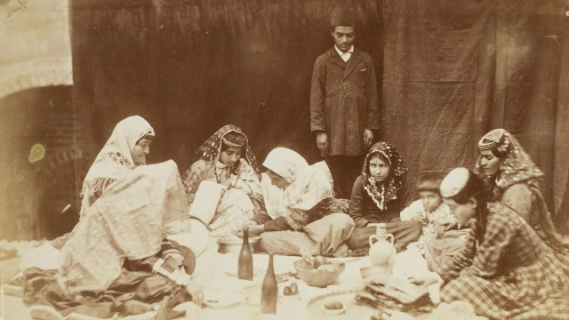 Photo, Photograph of Women and Children Having Diner Sevruguin, Antoin, 1880s - 1930, b&w ; 19.5 cm. x 13.2 cm. FSA_A2011.03_B.51