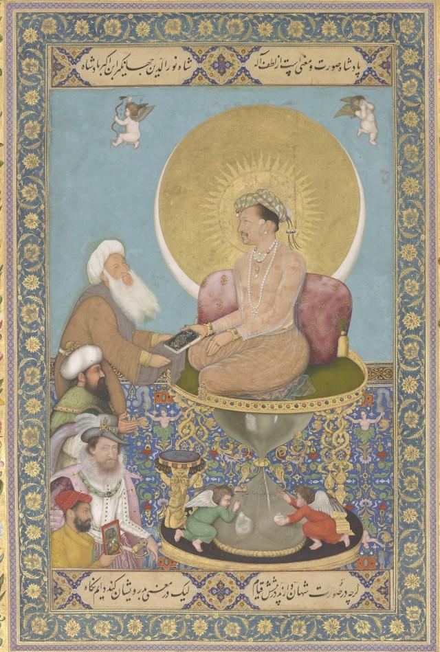 Jahangir Preferring a Sufi Shaikh to Kings from the St. Petersburg Album; Bichitr; India, Mughal Dynasty, 1615–18; F1942.15a