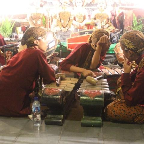 All-night shadow puppet performance (wayang kulit), Tembi Rumah Budaya, near Yogyakarta, Central Java