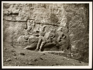 Rock cut relief depicting the Equestrian Combat of King Bahram II