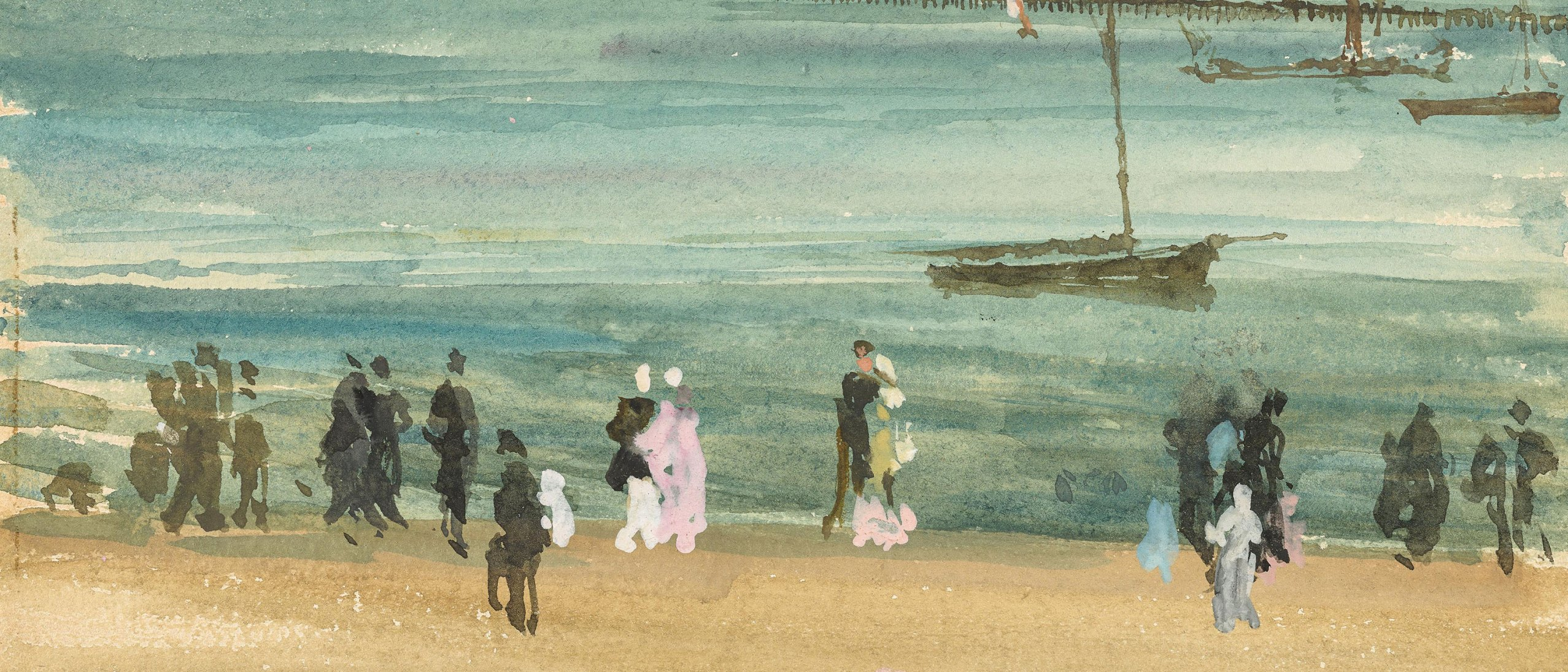 detail from Southend Pier painting by James McNeill Whistler. gestural figures stand in front of a moody body of water with sailboats indicated in a few simple strokes