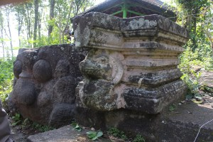 Granite pedestal with serpent supporting the spout